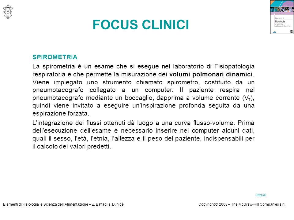 Elementi di Fisiologia e Scienza dell'Alimentazione – E. Battaglia, D. NoèCopyright © 2008 – The McGraw-Hill Companies s.r.l. SPIROMETRIA La spirometr