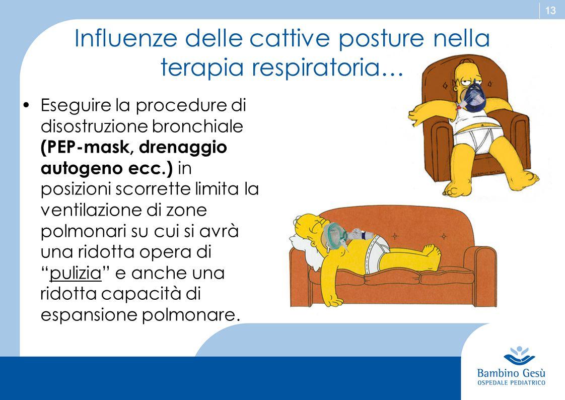 13 Influenze delle cattive posture nella terapia respiratoria… Eseguire la procedure di disostruzione bronchiale (PEP-mask, drenaggio autogeno ecc.) i