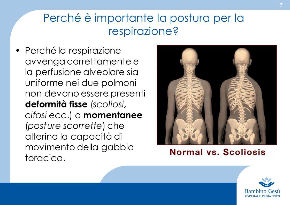 7 Perché è importante la postura per la respirazione? Perché la respirazione avvenga correttamente e la perfusione alveolare sia uniforme nei due polm