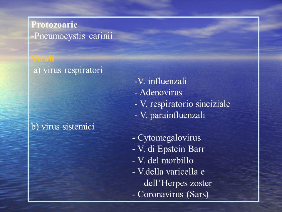 Batteriche d) batteri emergenti Gram negativi - Moraxella - Legionella pneumophila - Chlamydia b) altri microrganismi: - Mycoplasma pneumoniae - Ricke