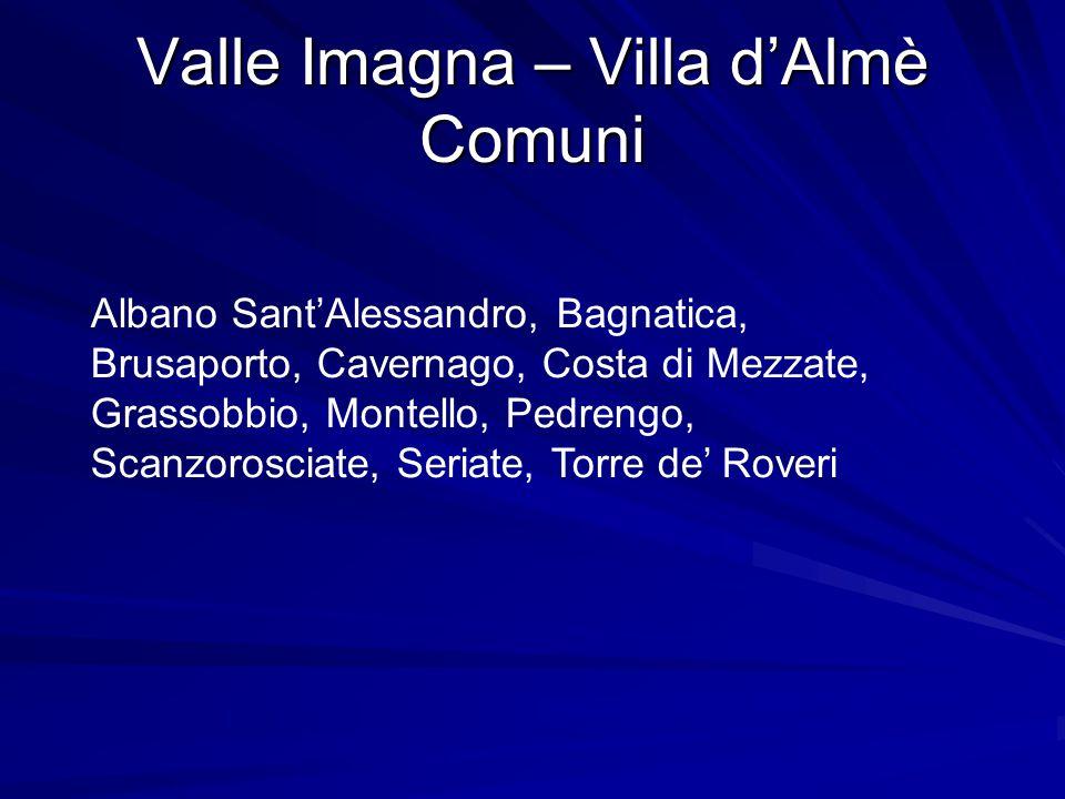 Valle Imagna – Villa d'Almè Comuni Albano Sant'Alessandro, Bagnatica, Brusaporto, Cavernago, Costa di Mezzate, Grassobbio, Montello, Pedrengo, Scanzorosciate, Seriate, Torre de' Roveri