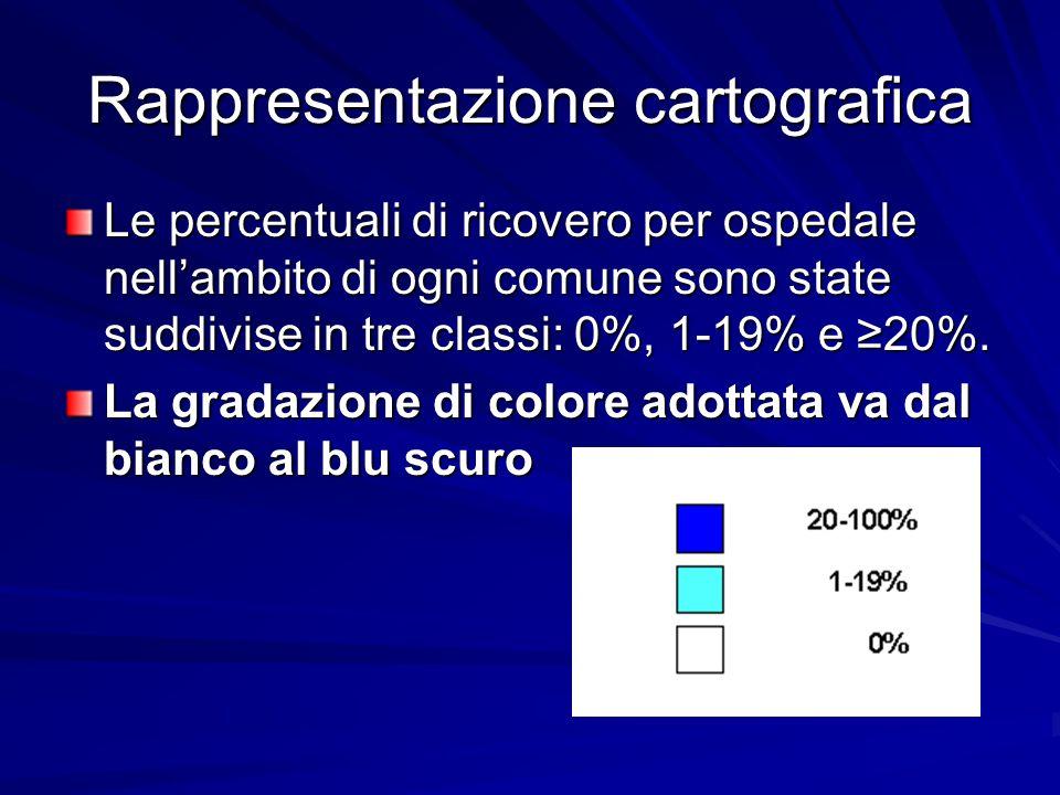 Rappresentazione cartografica Le percentuali di ricovero per ospedale nell'ambito di ogni comune sono state suddivise in tre classi: 0%, 1-19% e ≥20%.