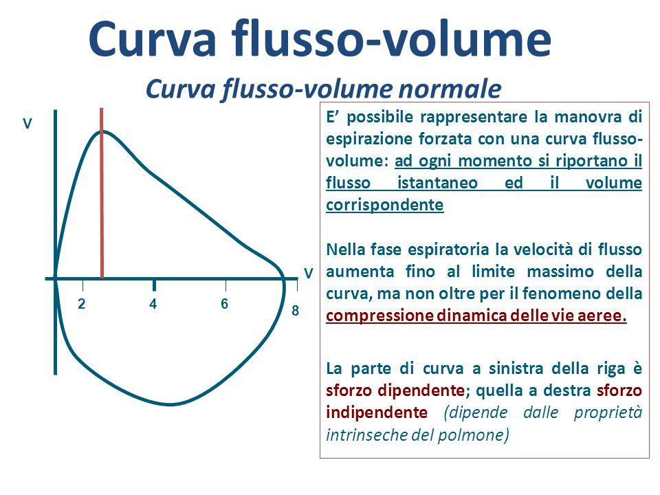 Curva flusso-volume Curva flusso-volume normale E' possibile rappresentare la manovra di espirazione forzata con una curva flusso- volume: ad ogni mom