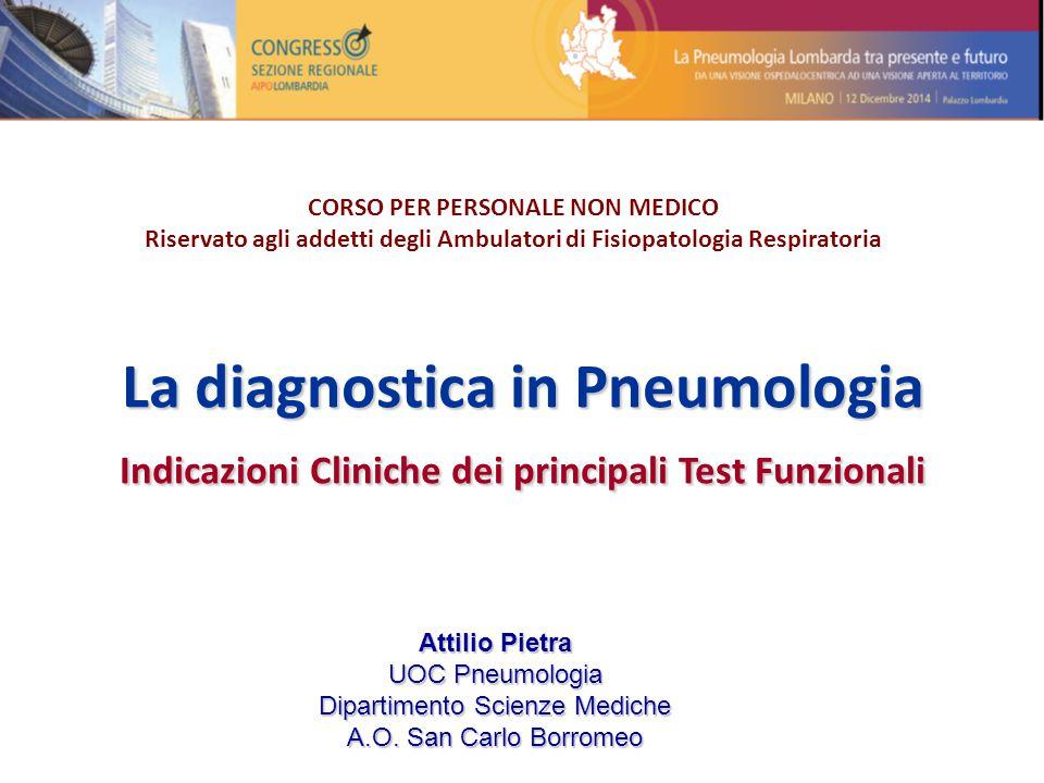 La diagnostica in Pneumologia Indicazioni Cliniche dei principali Test Funzionali CORSO PER PERSONALE NON MEDICO Riservato agli addetti degli Ambulato