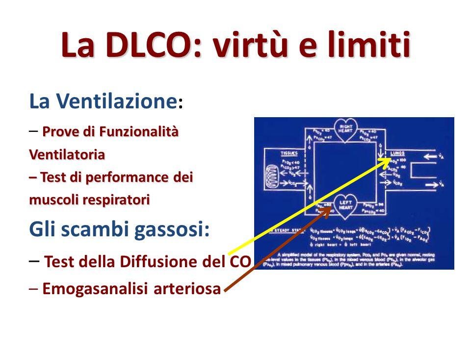 La DLCO: virtù e limiti La Ventilazione : Prove di Funzionalità – Prove di FunzionalitàVentilatoria – Test di performance dei muscoli respiratori Gli