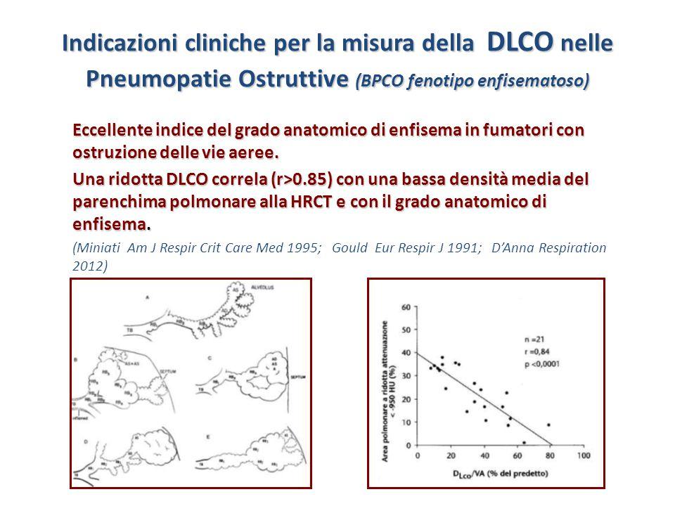 Indicazioni cliniche per la misura della DLCO nelle Pneumopatie Ostruttive (BPCO fenotipo enfisematoso) Eccellente indice del grado anatomico di enfis