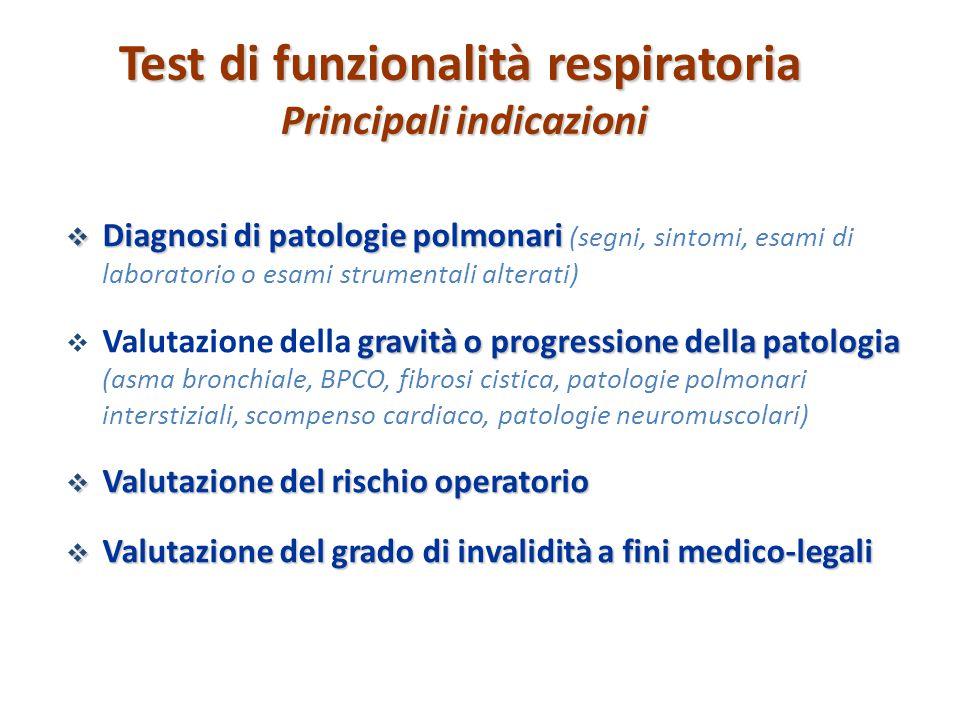 Test di funzionalità respiratoria Principali indicazioni  Diagnosi di patologie polmonari  Diagnosi di patologie polmonari (segni, sintomi, esami di