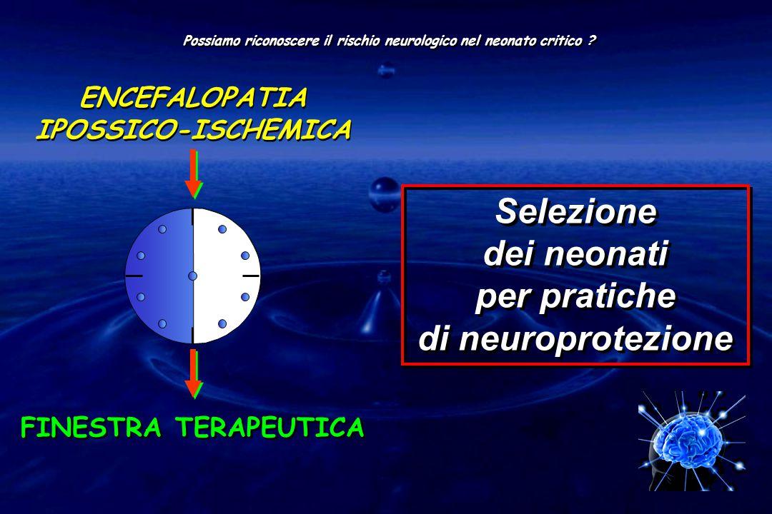ENCEFALOPATIA IPOSSICO-ISCHEMICA FINESTRA TERAPEUTICA Possiamo riconoscere il rischio neurologico nel neonato critico ? Selezione dei neonati per prat