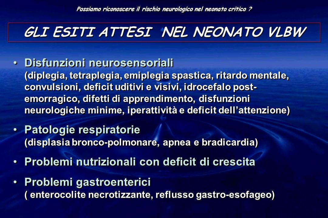 GLI ESITI ATTESI NEL NEONATO VLBW Disfunzioni neurosensoriali (diplegia, tetraplegia, emiplegia spastica, ritardo mentale, convulsioni, deficit uditivi e visivi, idrocefalo post- emorragico, difetti di apprendimento, disfunzioni neurologiche minime, iperattività e deficit dell'attenzione) Patologie respiratorie (displasia bronco-polmonare, apnea e bradicardia) Problemi nutrizionali con deficit di crescita Problemi gastroenterici ( enterocolite necrotizzante, reflusso gastro-esofageo) Disfunzioni neurosensoriali (diplegia, tetraplegia, emiplegia spastica, ritardo mentale, convulsioni, deficit uditivi e visivi, idrocefalo post- emorragico, difetti di apprendimento, disfunzioni neurologiche minime, iperattività e deficit dell'attenzione) Patologie respiratorie (displasia bronco-polmonare, apnea e bradicardia) Problemi nutrizionali con deficit di crescita Problemi gastroenterici ( enterocolite necrotizzante, reflusso gastro-esofageo)