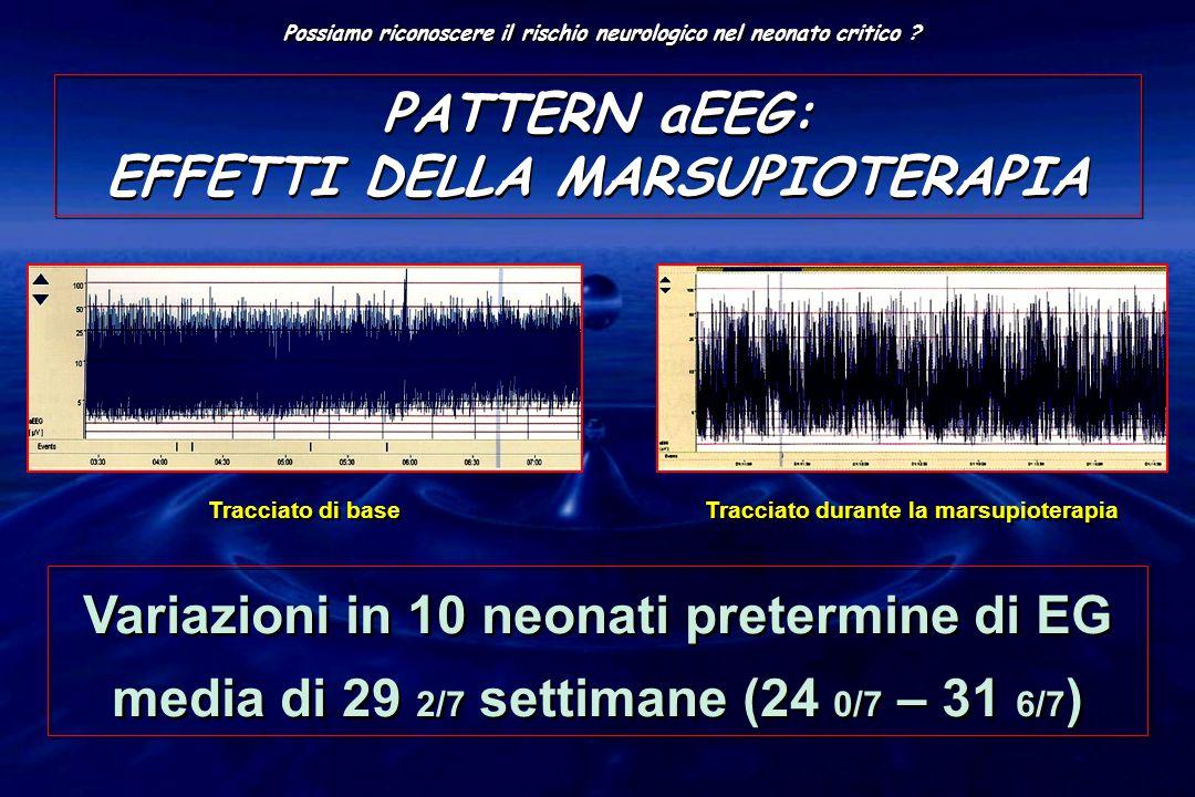 PATTERN aEEG: EFFETTI DELLA MARSUPIOTERAPIA Tracciato di base Variazioni in 10 neonati pretermine di EG media di 29 2/7 settimane (24 0/7 – 31 6/7 ) P