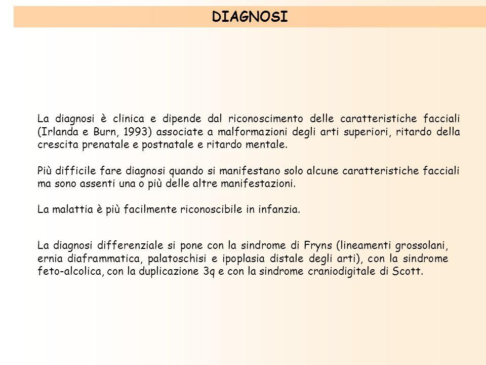 La diagnosi è clinica e dipende dal riconoscimento delle caratteristiche facciali (Irlanda e Burn, 1993) associate a malformazioni degli arti superior