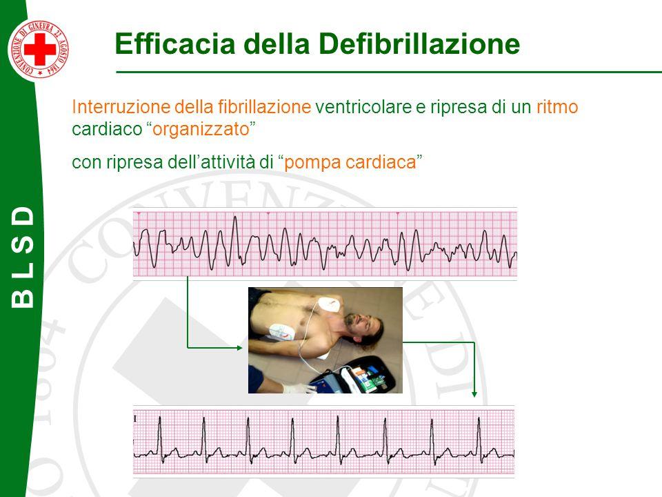 """B L S D Efficacia della Defibrillazione Interruzione della fibrillazione ventricolare e ripresa di un ritmo cardiaco """"organizzato"""" con ripresa dell'at"""