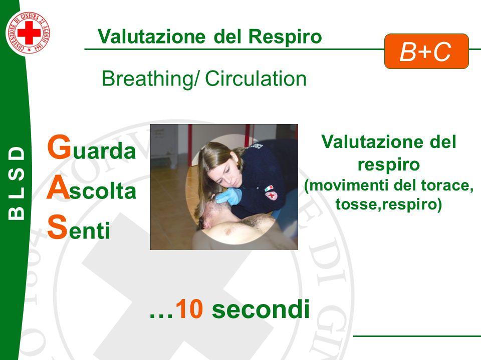 B L S D G uarda A scolta S enti Breathing/ Circulation Valutazione del Respiro B+C Valutazione del respiro (movimenti del torace, tosse,respiro) …10 s