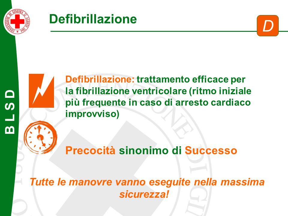 Defibrillazione D Defibrillazione: trattamento efficace per la fibrillazione ventricolare (ritmo iniziale più frequente in caso di arresto cardiaco im