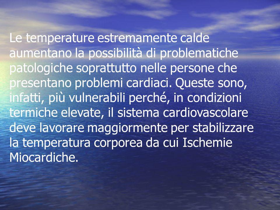 Le temperature estremamente calde aumentano la possibilità di problematiche patologiche soprattutto nelle persone che presentano problemi cardiaci.