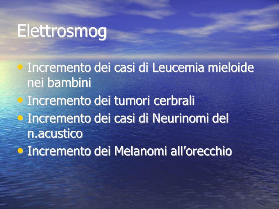 Elettrosmog Incremento dei casi di Leucemia mieloide nei bambini Incremento dei casi di Leucemia mieloide nei bambini Incremento dei tumori cerbrali Incremento dei tumori cerbrali Incremento dei casi di Neurinomi del n.acustico Incremento dei casi di Neurinomi del n.acustico Incremento dei Melanomi all'orecchio Incremento dei Melanomi all'orecchio
