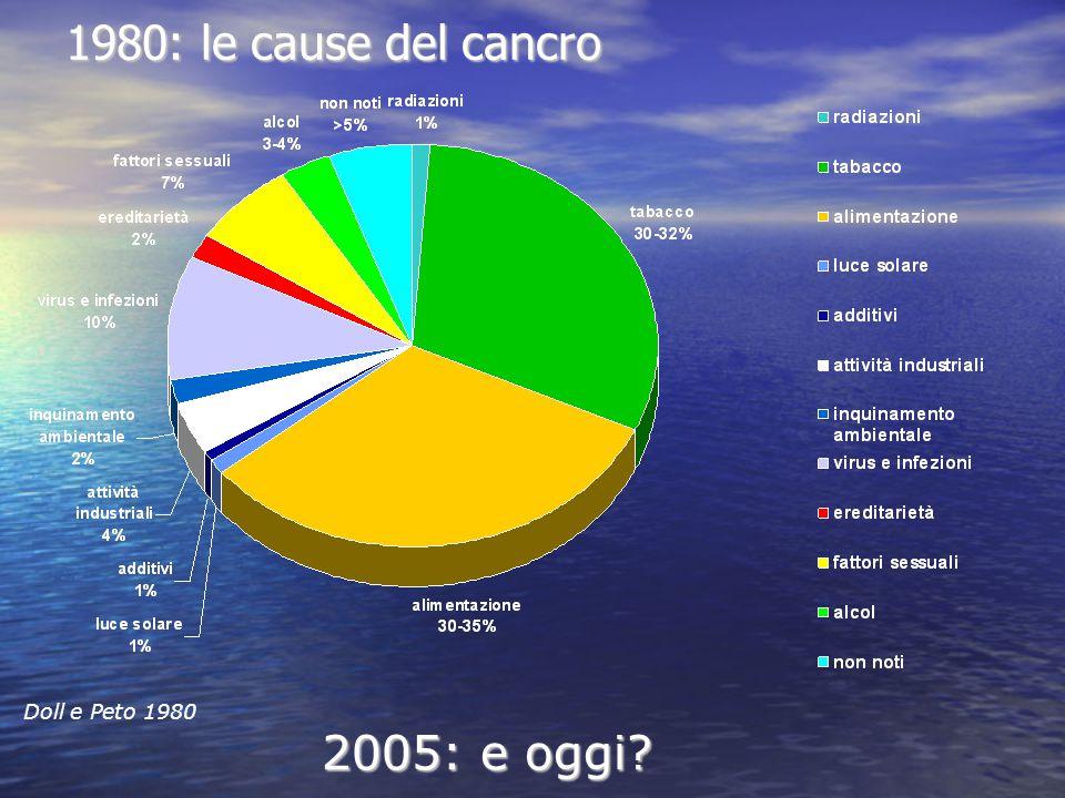 1980: le cause del cancro Doll e Peto 1980 2005: e oggi