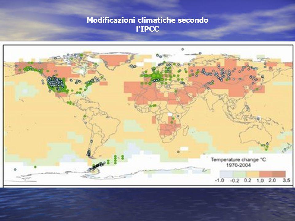Modificazioni climatiche secondo l IPCC