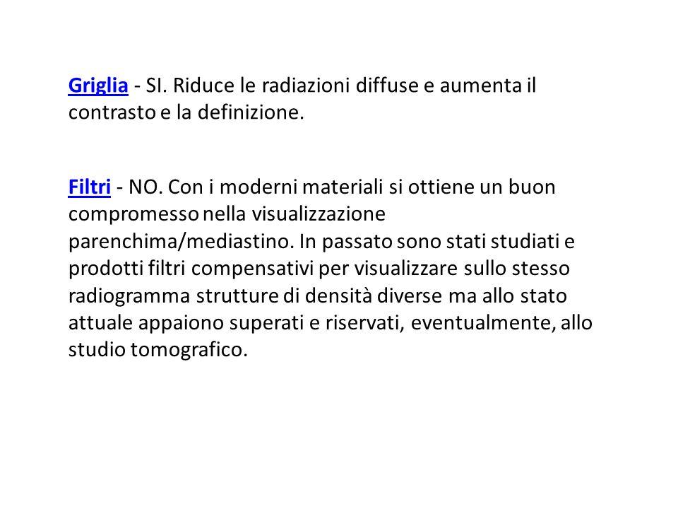 GrigliaGriglia - SI. Riduce le radiazioni diffuse e aumenta il contrasto e la definizione. FiltriFiltri - NO. Con i moderni materiali si ottiene un bu