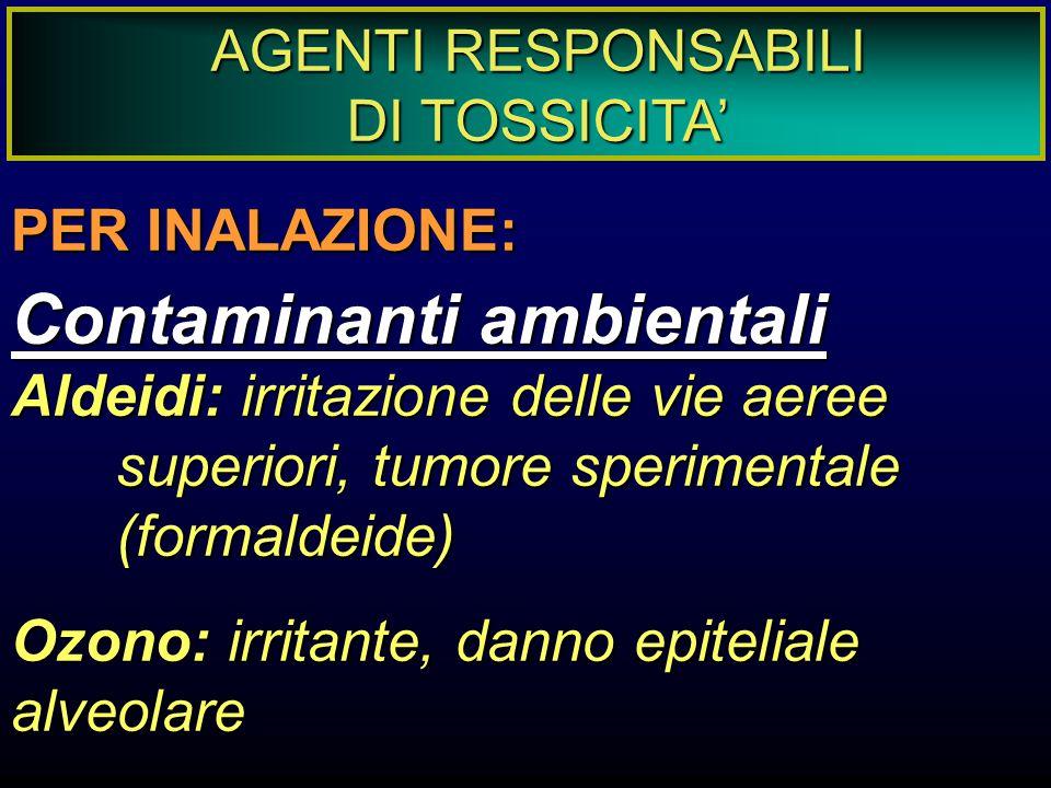 AGENTI RESPONSABILI DI TOSSICITA' PER INALAZIONE: Contaminanti ambientali Aldeidi: irritazione delle vie aeree superiori, tumore sperimentale (formald