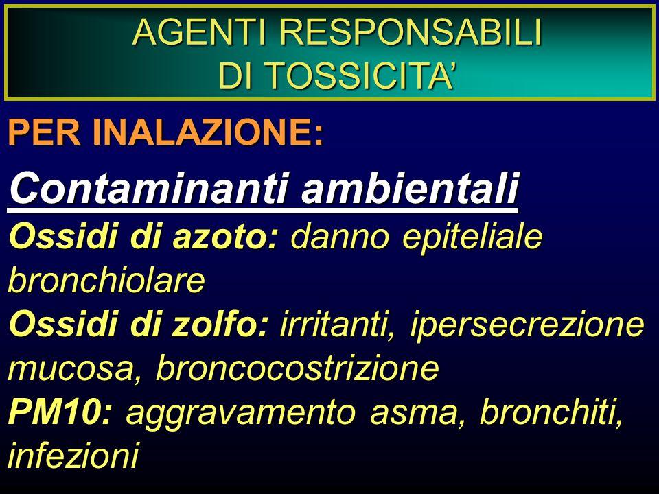 AGENTI RESPONSABILI DI TOSSICITA' PER INALAZIONE: Contaminanti ambientali Ossidi di azoto: danno epiteliale bronchiolare Ossidi di zolfo: irritanti, i