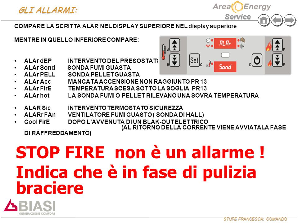 STUFE FRANCESCA: COMANDO Service GLI ALLARMI: COMPARE LA SCRITTA ALAR NEL DISPLAY SUPERIORE NEL display superiore MENTRE IN QUELLO INFERIORE COMPARE:
