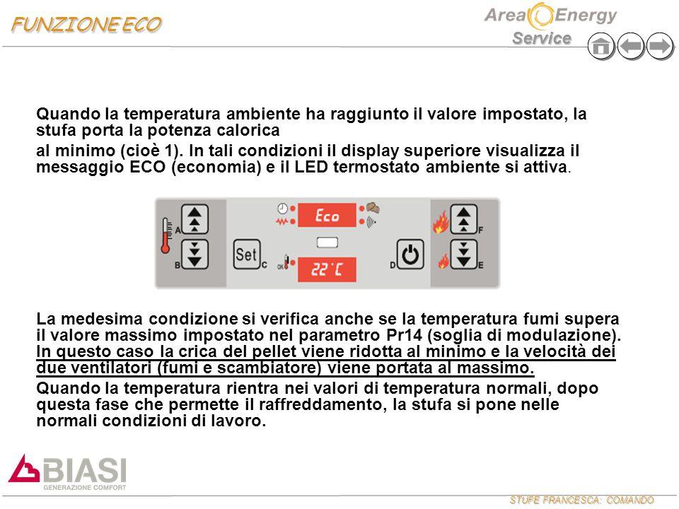 STUFE FRANCESCA: COMANDO Service Quando la temperatura ambiente ha raggiunto il valore impostato, la stufa porta la potenza calorica al minimo (cioè 1