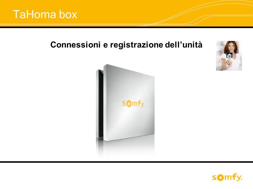 TaHoma box Connessioni e registrazione dell'unità