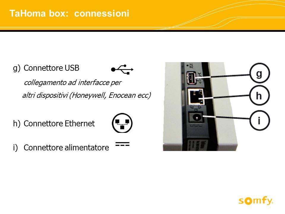 g)Connettore USB collegamento ad interfacce per altri dispositivi (Honeywell, Enocean ecc) h)Connettore Ethernet i)Connettore alimentatore TaHoma box: connessioni