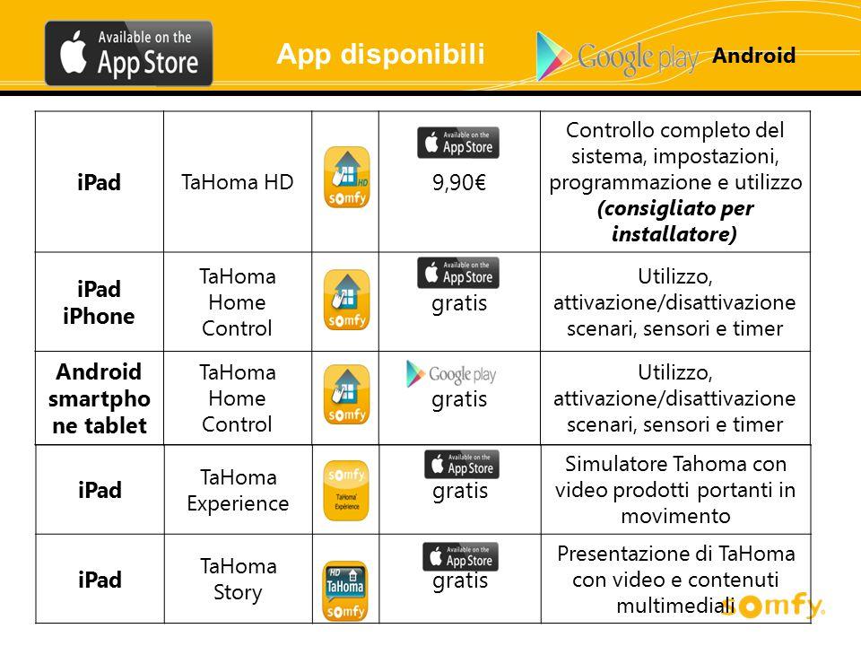 iPad TaHoma HD 9,90€ Controllo completo del sistema, impostazioni, programmazione e utilizzo (consigliato per installatore) iPad iPhone TaHoma Home Co