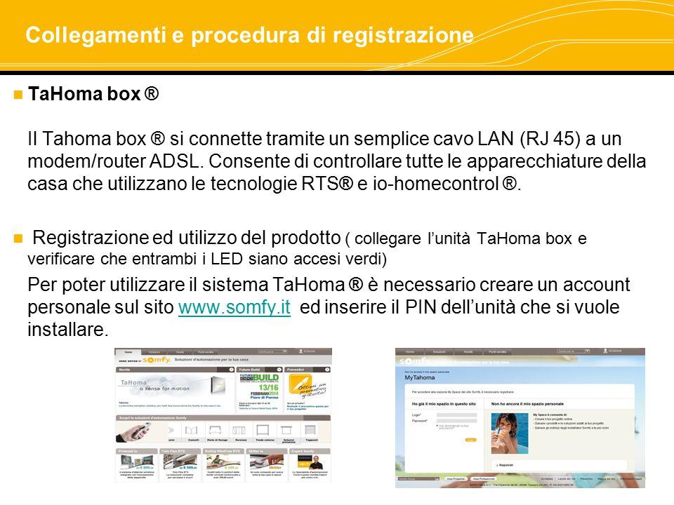 Collegamenti e procedura di registrazione TaHoma box ® Il Tahoma box ® si connette tramite un semplice cavo LAN (RJ 45) a un modem/router ADSL. Consen