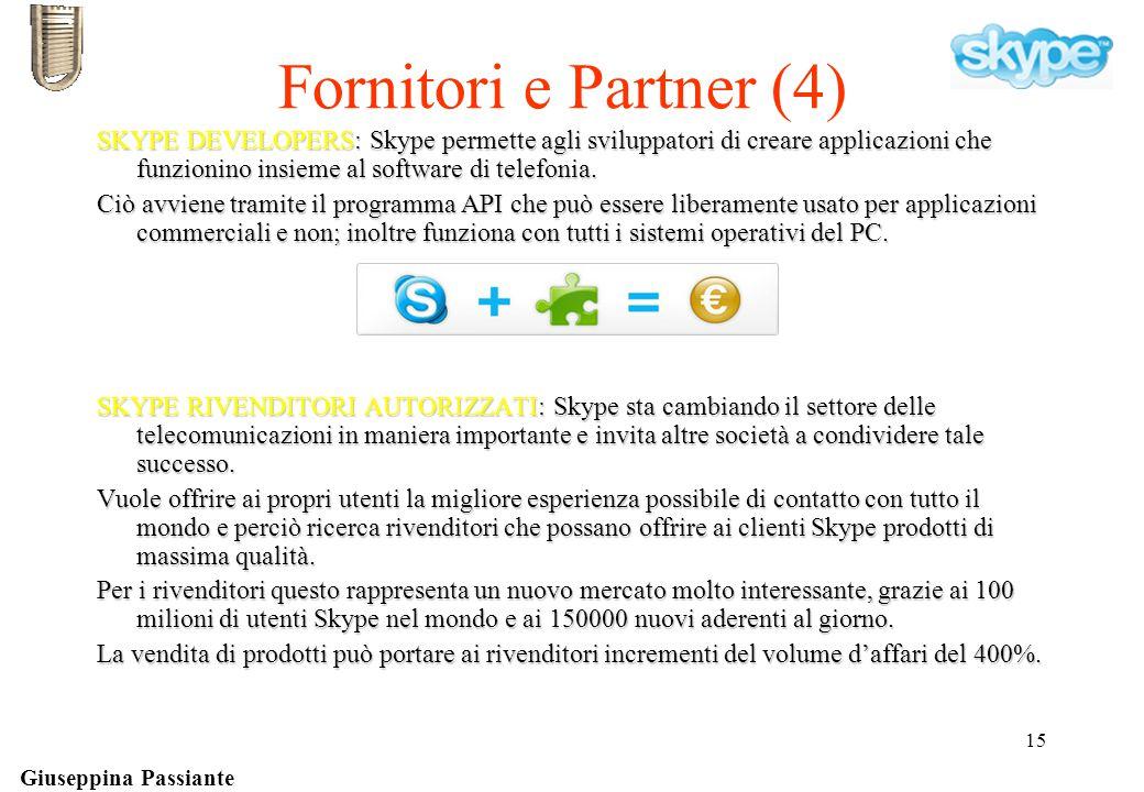 Giuseppina Passiante 15 Fornitori e Partner (4) SKYPE DEVELOPERS: Skype permette agli sviluppatori di creare applicazioni che funzionino insieme al software di telefonia.