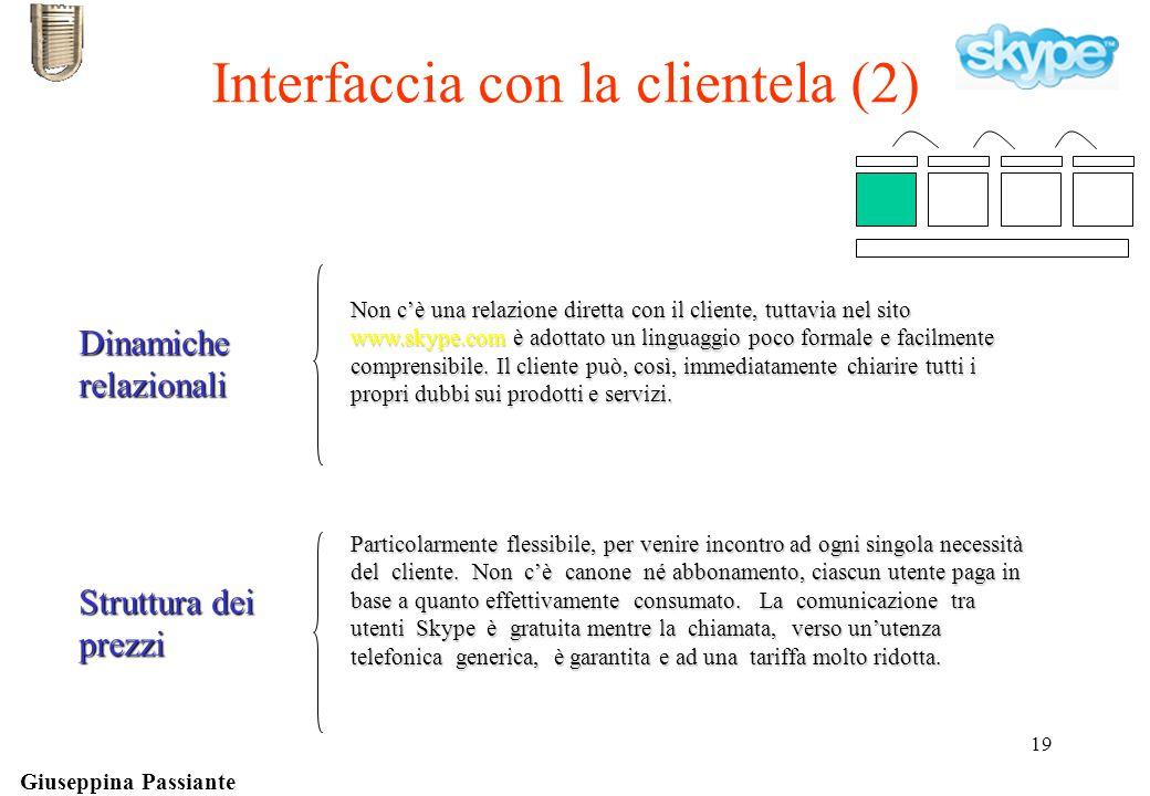 Giuseppina Passiante 19 Dinamiche relazionali Non c'è una relazione diretta con il cliente, tuttavia nel sito www.skype.com è adottato un linguaggio poco formale e facilmente comprensibile.