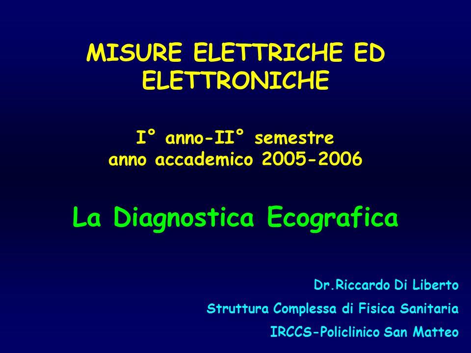 1 MISURE ELETTRICHE ED ELETTRONICHE I° anno-II° semestre anno accademico 2005-2006 La Diagnostica Ecografica Dr.Riccardo Di Liberto Struttura Compless