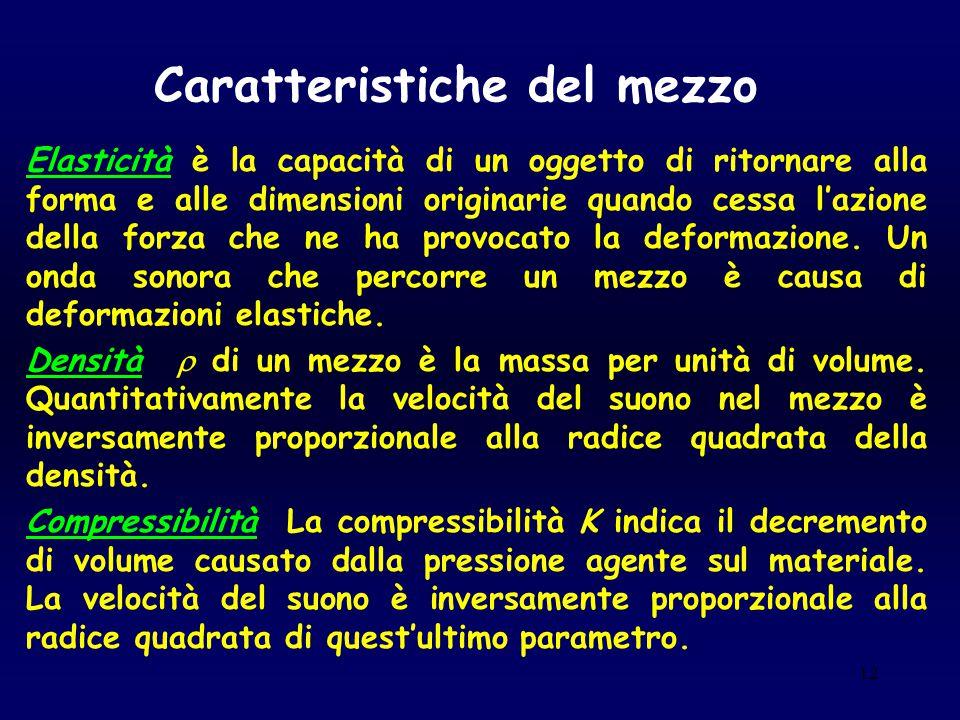 12 Caratteristiche del mezzo Elasticità è la capacità di un oggetto di ritornare alla forma e alle dimensioni originarie quando cessa l'azione della f