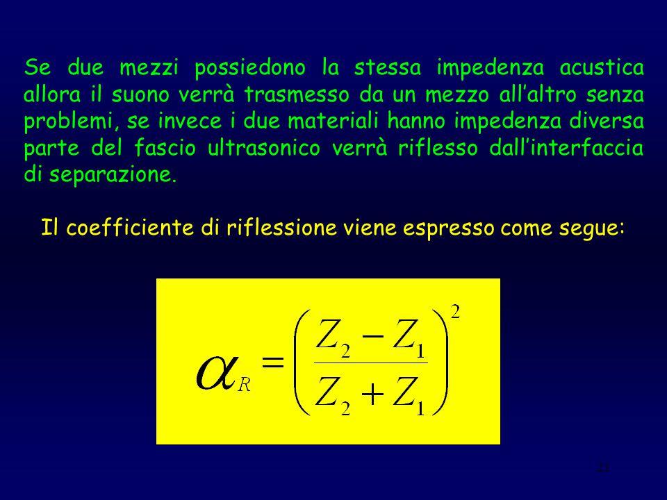 21 Se due mezzi possiedono la stessa impedenza acustica allora il suono verrà trasmesso da un mezzo all'altro senza problemi, se invece i due material