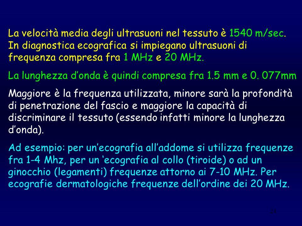 24 La velocità media degli ultrasuoni nel tessuto è 1540 m/sec. In diagnostica ecografica si impiegano ultrasuoni di frequenza compresa fra 1 MHz e 20
