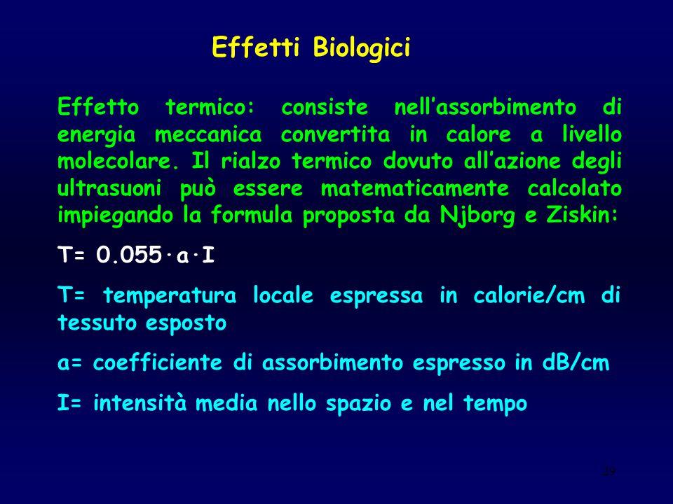 29 Effetti Biologici Effetto termico: consiste nell'assorbimento di energia meccanica convertita in calore a livello molecolare. Il rialzo termico dov