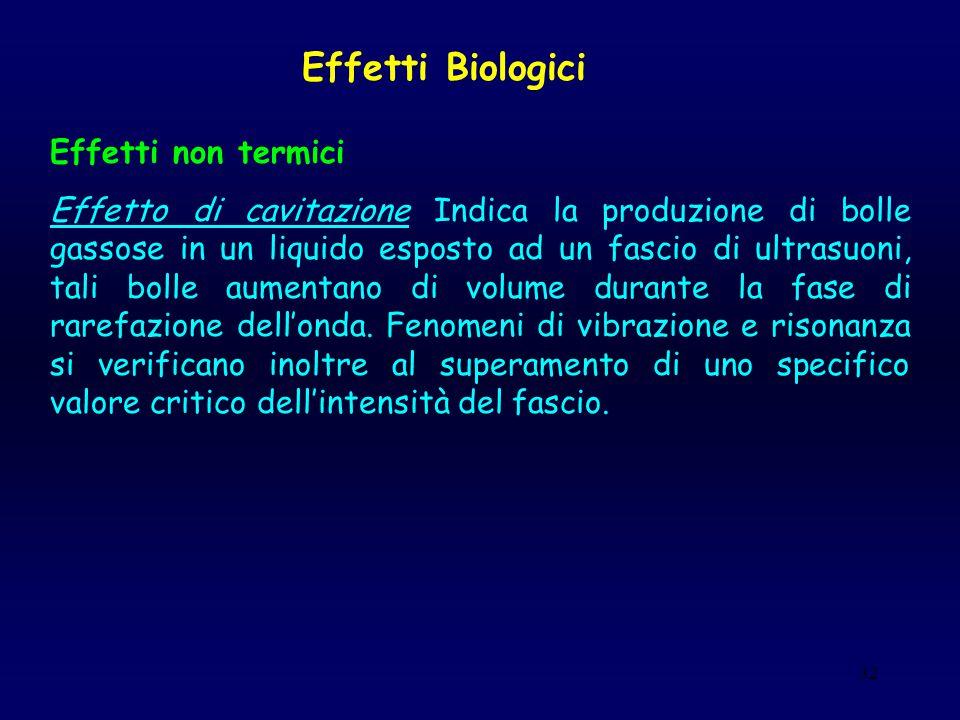 32 Effetti Biologici Effetti non termici Effetto di cavitazione Indica la produzione di bolle gassose in un liquido esposto ad un fascio di ultrasuoni