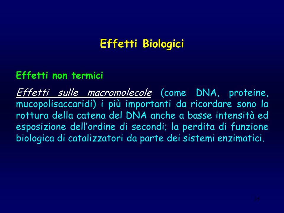 35 Effetti Biologici Effetti non termici Effetti sulle macromolecole (come DNA, proteine, mucopolisaccaridi) i più importanti da ricordare sono la rot
