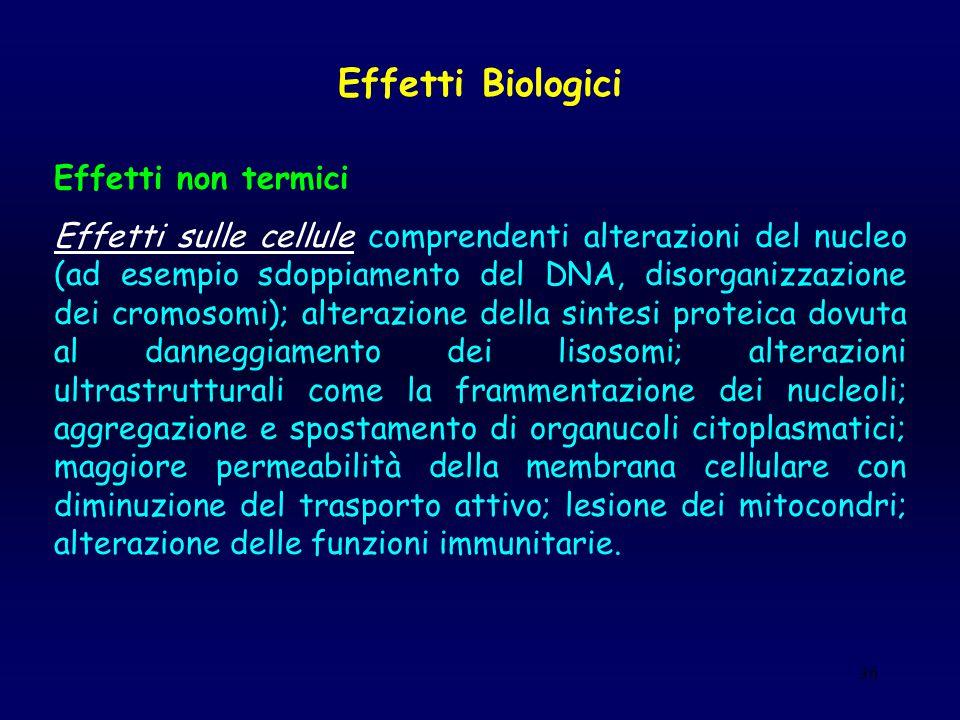36 Effetti Biologici Effetti non termici Effetti sulle cellule comprendenti alterazioni del nucleo (ad esempio sdoppiamento del DNA, disorganizzazione