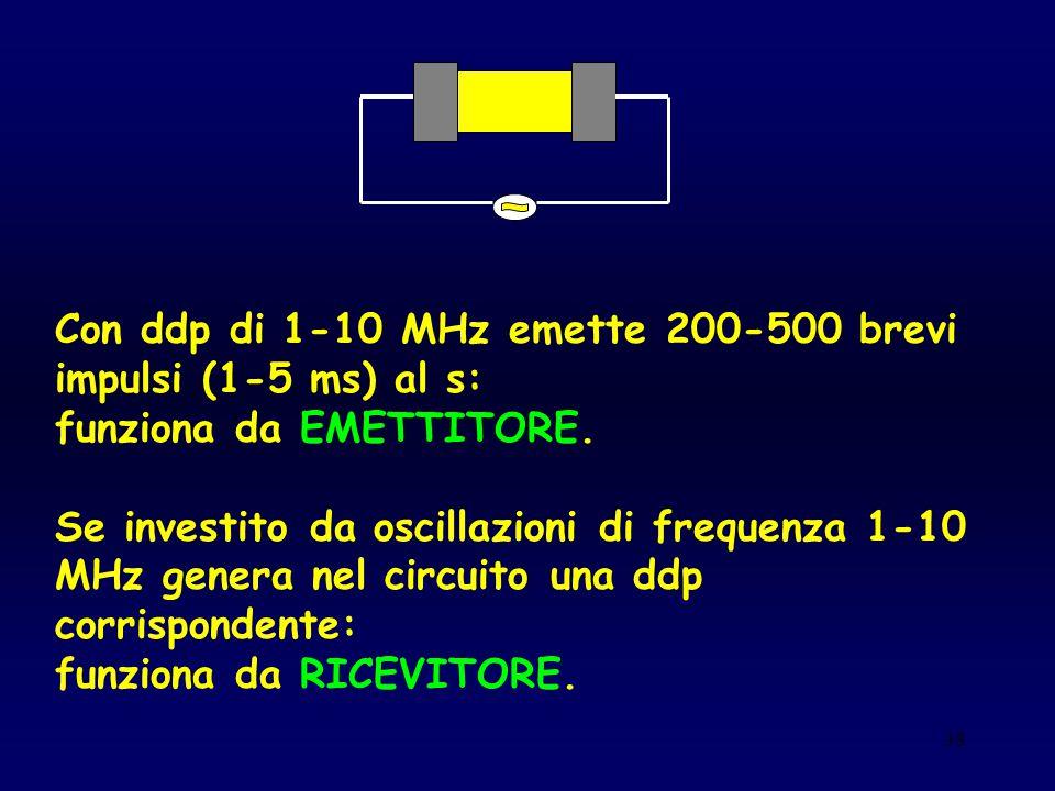 38 Con ddp di 1-10 MHz emette 200-500 brevi impulsi (1-5 ms) al s: funziona da EMETTITORE. Se investito da oscillazioni di frequenza 1-10 MHz genera n