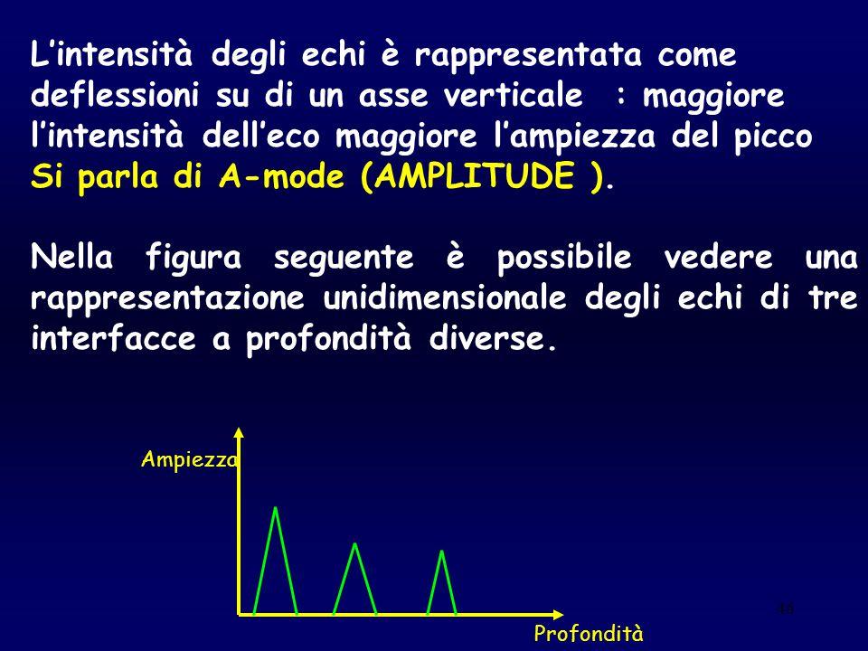 46 L'intensità degli echi è rappresentata come deflessioni su di un asse verticale : maggiore l'intensità dell'eco maggiore l'ampiezza del picco Si pa