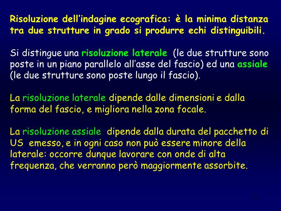 52 Risoluzione dell'indagine ecografica: è la minima distanza tra due strutture in grado si produrre echi distinguibili. Si distingue una risoluzione