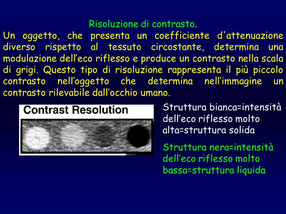53 Risoluzione di contrasto. Un oggetto, che presenta un coefficiente d'attenuazione diverso rispetto al tessuto circostante, determina una modulazion