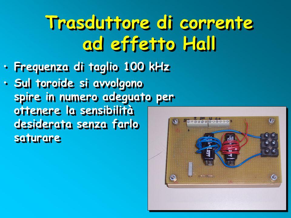 Trasduttore di corrente ad effetto Hall Trasduttore di corrente ad effetto Hall Frequenza di taglio 100 kHz Sul toroide si avvolgono spire in numero a