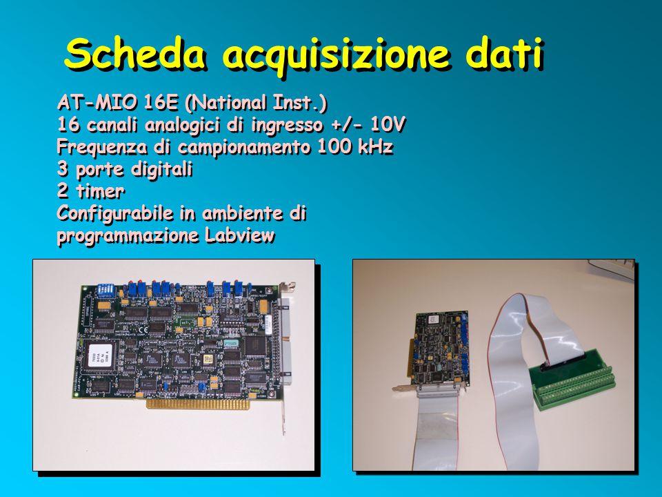 Scheda acquisizione dati AT-MIO 16E (National Inst.) 16 canali analogici di ingresso +/- 10V Frequenza di campionamento 100 kHz 3 porte digitali 2 tim