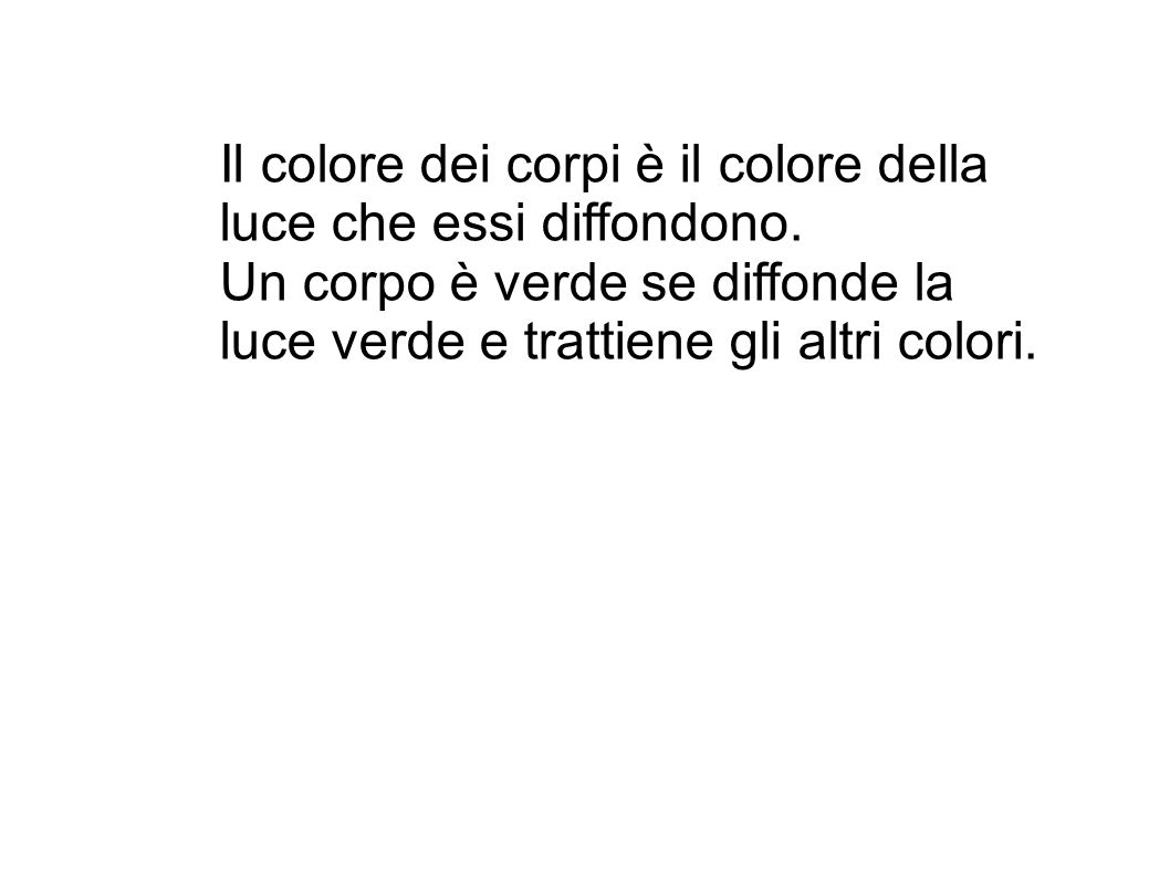 Il colore dei corpi è il colore della luce che essi diffondono. Un corpo è verde se diffonde la luce verde e trattiene gli altri colori.