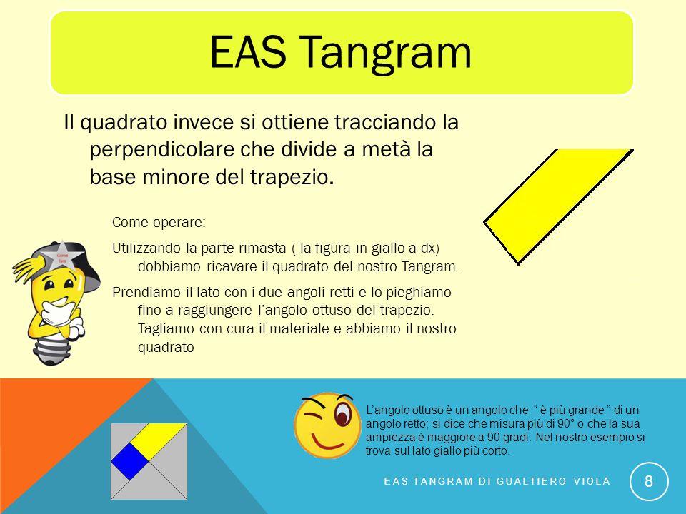 Come operare: Utilizzando la parte rimasta ( la figura in giallo a dx) dobbiamo ricavare il quadrato del nostro Tangram. Prendiamo il lato con i due a