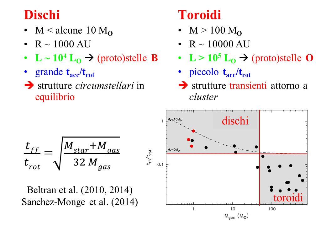 Toroidi M > 100 M O R ~ 10000 AU L > 10 5 L O  (proto)stelle O piccolo t acc /t rot  strutture transienti attorno a cluster Dischi M < alcune 10 M O R ~ 1000 AU L ~ 10 4 L O  (proto)stelle B grande t acc /t rot  strutture circumstellari in equilibrio Beltran et al.